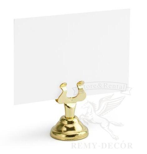 derzhatel kartochek na stol zolotoj metallicheskij